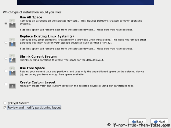 CentOS 6.8 Select Type of Installation