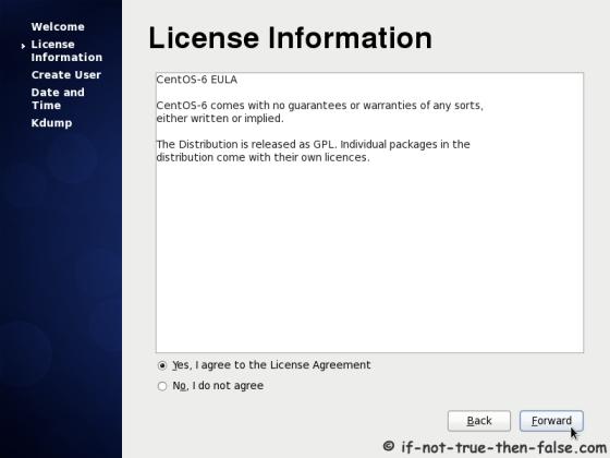 CentOS 6.10 Accept License Agreement