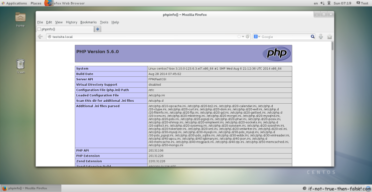 CentOS 7 Running Nginx and PHP-FPM 5.6.0