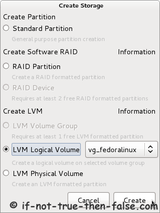 Fedora 17 Installer - Create New LVM Logical Volume