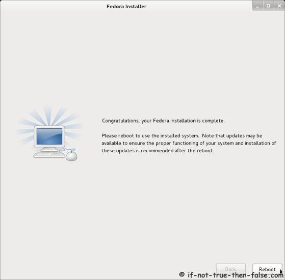 Fedora 16 Installer - Installation Complete
