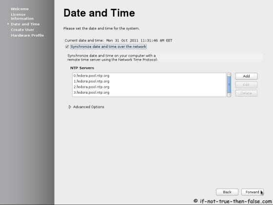 Fedora 17 First Boot - Date and Time NTP setup