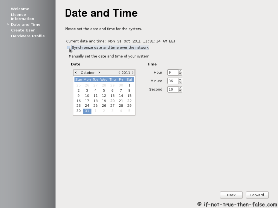 Fedora 17 First Boot - Date and Time