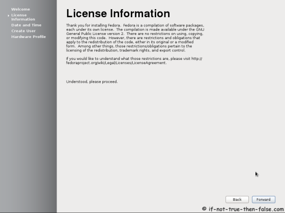 Fedora 17 First Boot - License Information