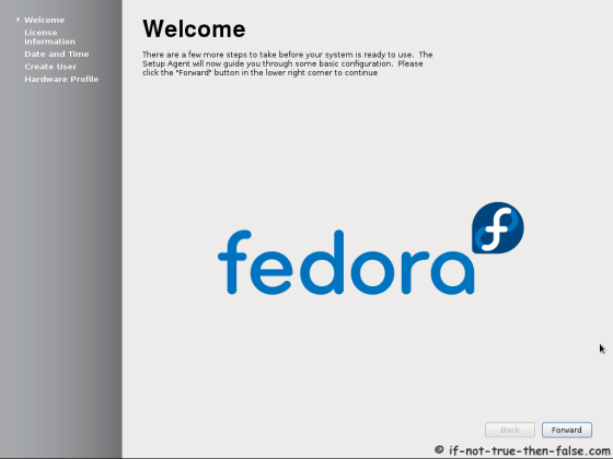 Fedora 17 First Boot - Welcome Screen
