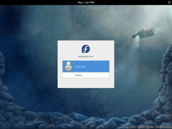 Fedora 16 Login Screen