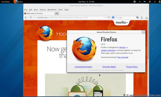 Ffirefox 20 on Fedora 18