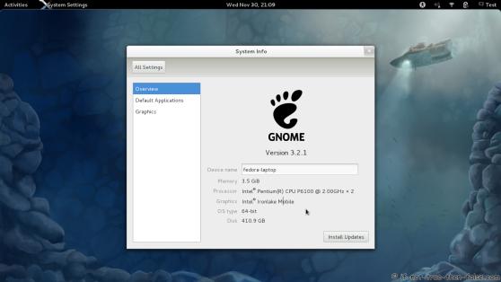 Fedora 16 Gnome Shell 3.2 System Info