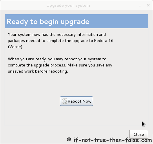 Preupgrade - Ready to begin upgrade