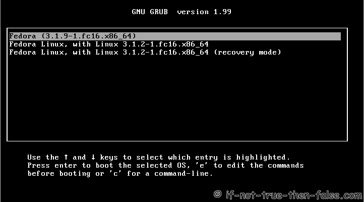 GRUB2 Default Screen