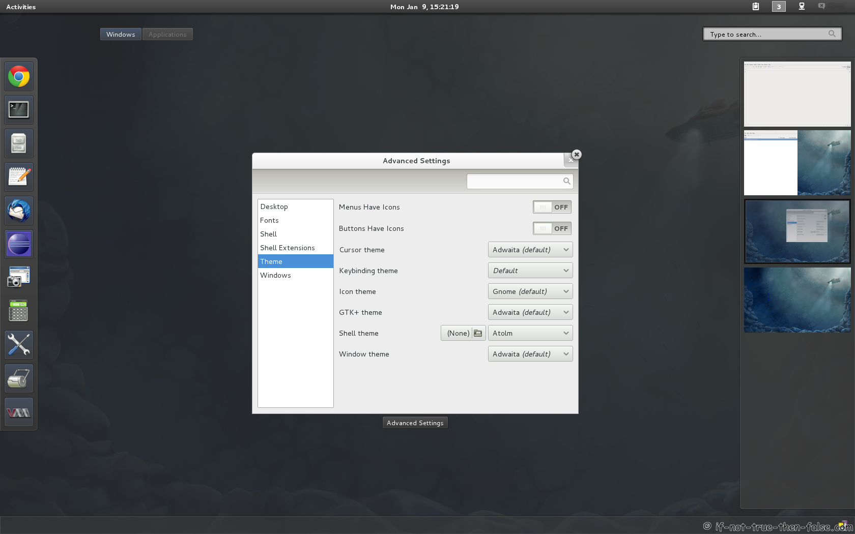 Gnome Shell Tweaking with Extensions and Themes on Fedora 16