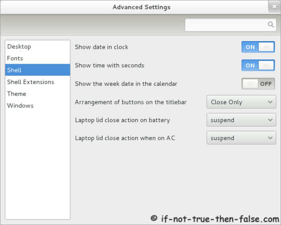 Advanced Settings (gnome-tweak-tool) Shell