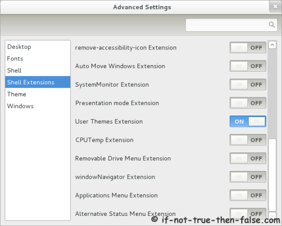 Advanced Settings (gnome-tweak-tool) Shell extensions enable user themes