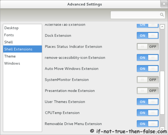 Advanced Settings (gnome-tweak-tool) Shell extensions turn on and off