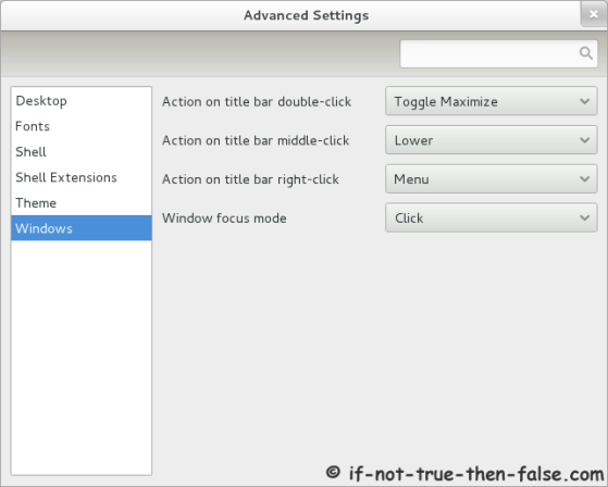 Advanced Settings (gnome-tweak-tool) Windows