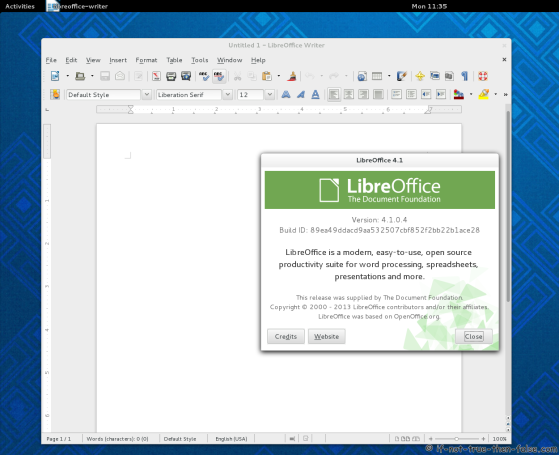 LibreOffice 4.1 Running on Fedora 19