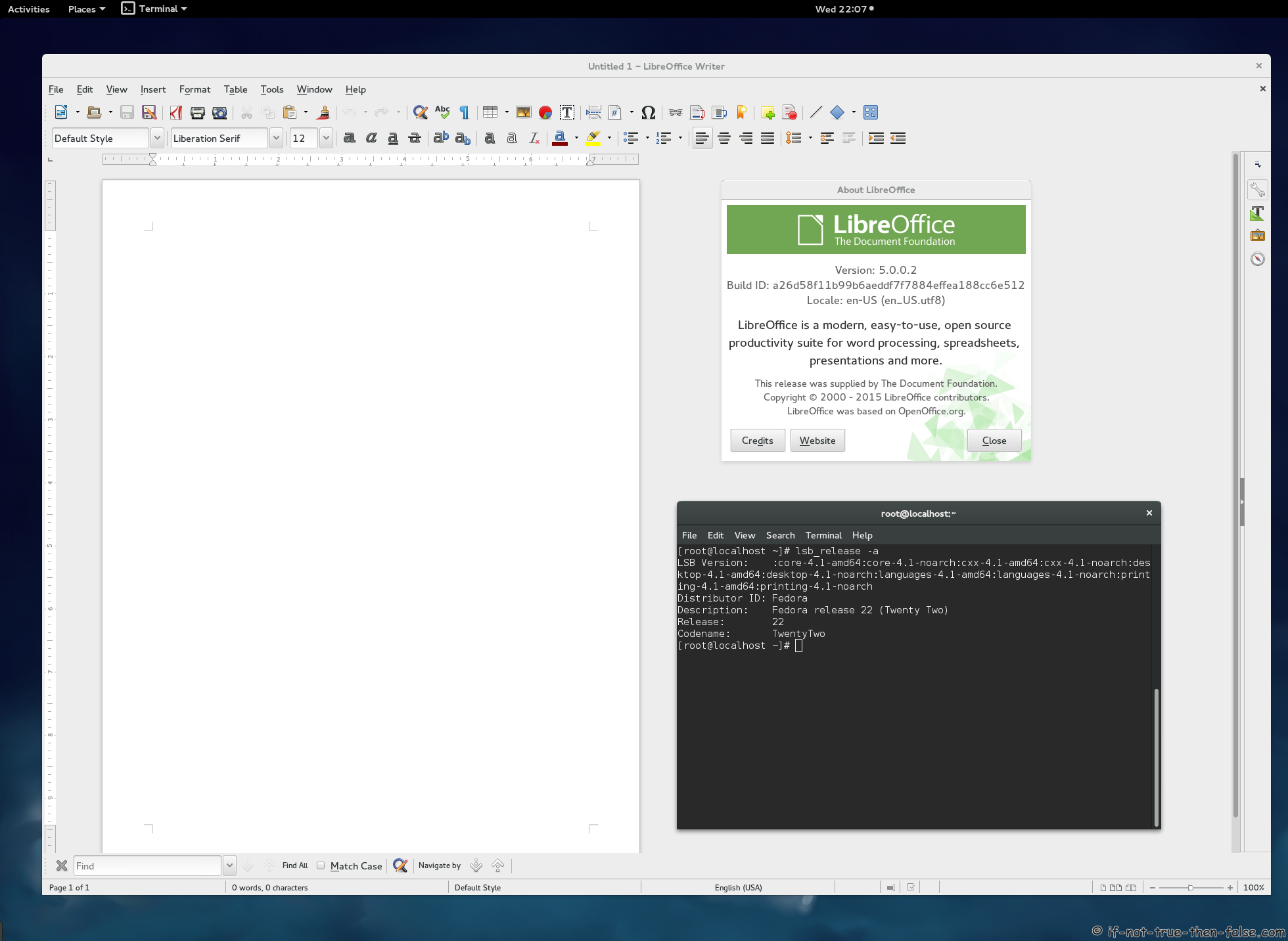 LibreOffice 5.0 Running on Fedora 22