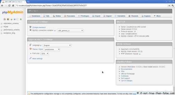 phpMyAdmin 3.4.10.1 Apache CentOS 6.2