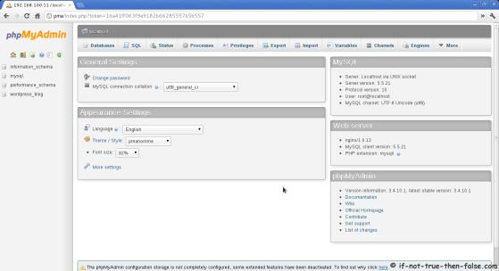 phpMyAdmin 3.4.10.1 Nginx CentOS 6.2