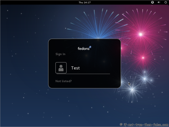 Fedora 17 Login Screen