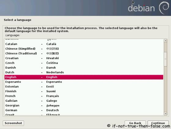 Debian Select Language