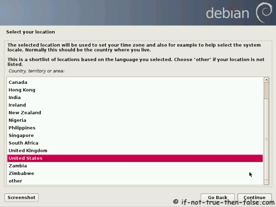 Debian Select Your Location