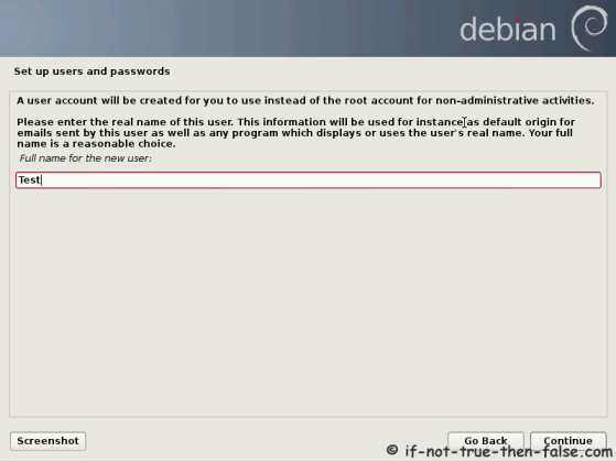 Debian Setup User Name
