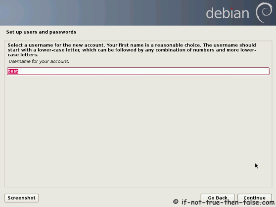 Debian Setup User Name for Account