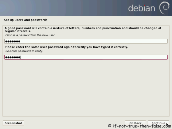 Debian Setup User Password