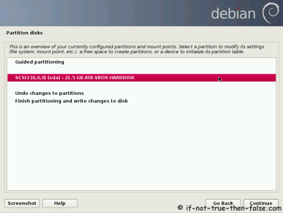 Debian Partition Select Disk