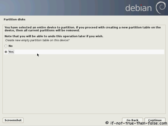 Debian Create New Empty Partition Table