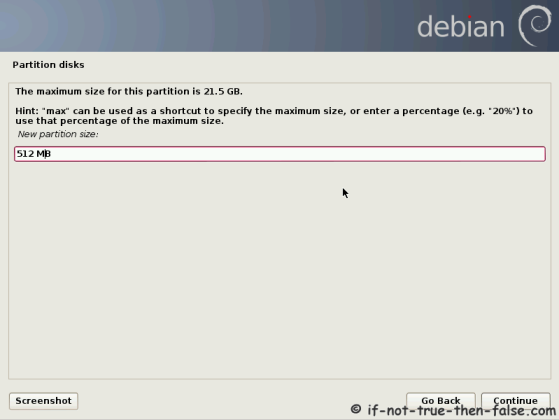Debian Set Partition Size