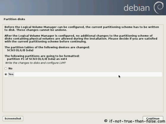 Debian Write Changes to Disk Configure LVM