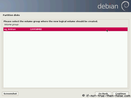 Debian Select Volume Group