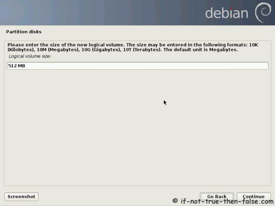 Debian Set lv_swap Size