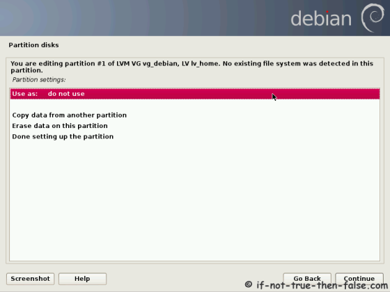 Debian Use Partition