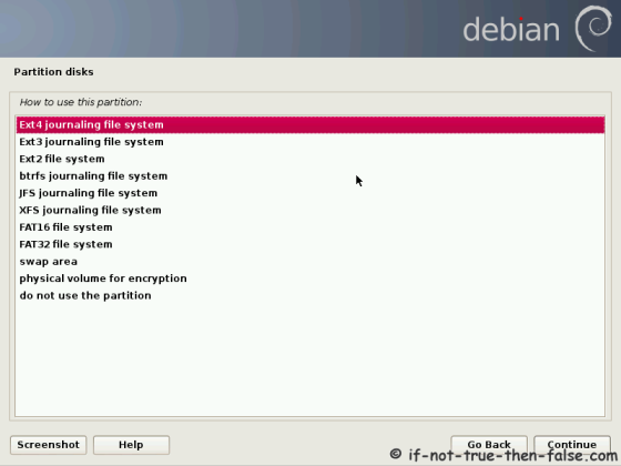Debian Select File System