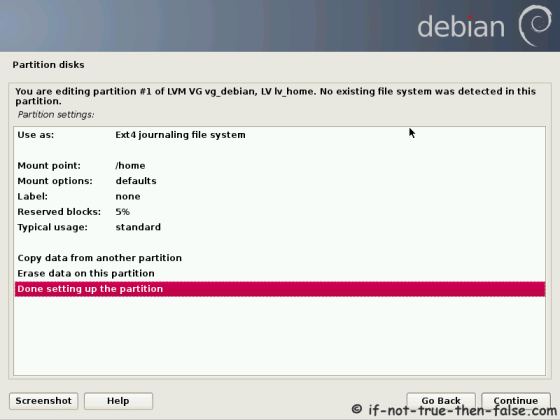 Debian Set Mount Point and Finish