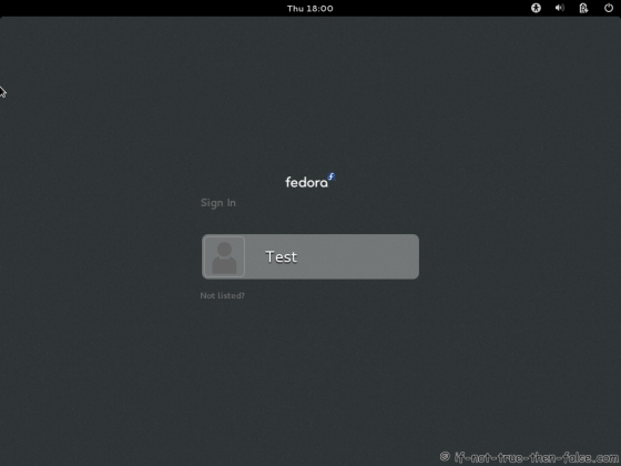 Fedora 18 Login Screen