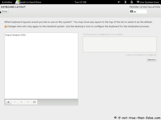 Fedora 19 Setup Keyboard