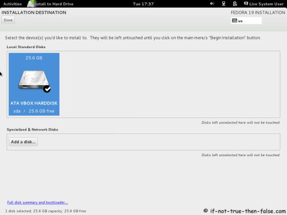 Fedora 19 Select Installation Destination