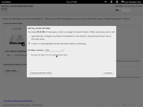 Fedora 19 Partitioning Options