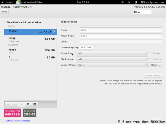 Fedora 19 Modify partitions manually