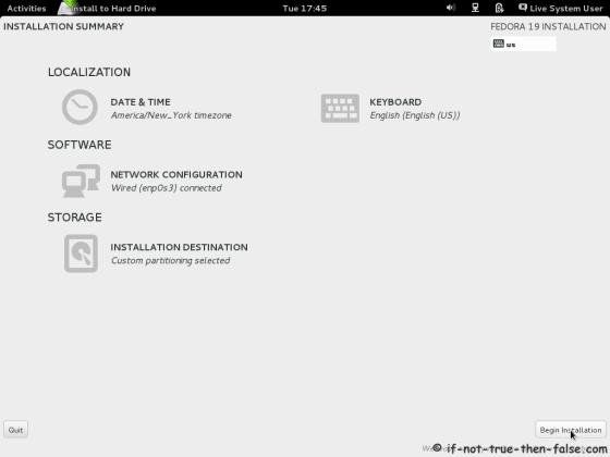 Fedora 19 Begin installation