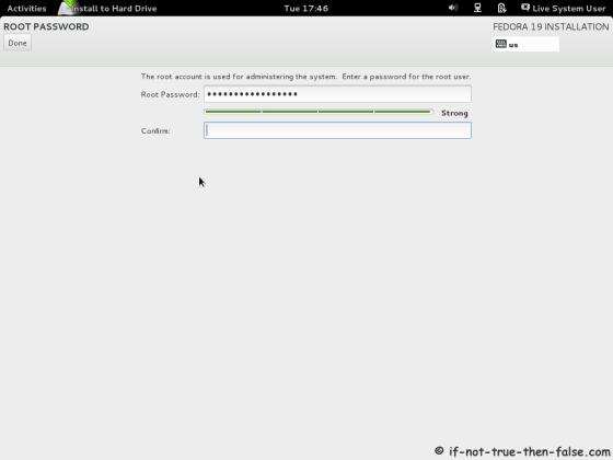 Fedora 19 Set root Password