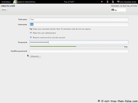 Fedora 19 Create User Account