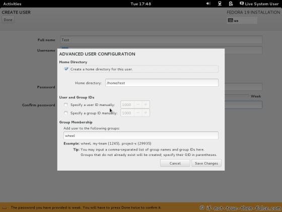 Fedora-19 User Account Advanced Options