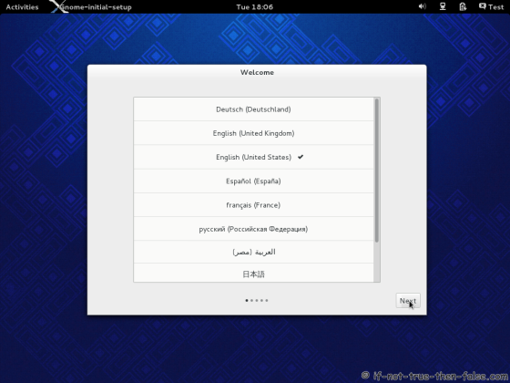 Fedora 19 Gnome 3.8 Welcome Screen