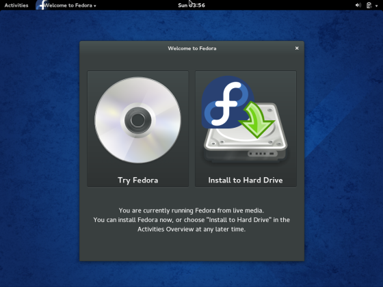 Start Fedora 20 Installation Click Install to Hard Drive