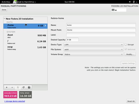 Modify partitions manually